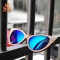 Piedra del sol mujeres del ojo de gato de madera natural hecho a mano de madera uv400 gafas de sol polarizadas gafas de sol polaroid y caja de la marca completa anteojeras sc32