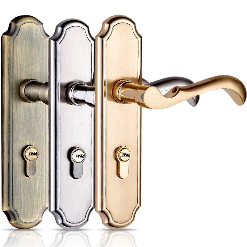 De haute qualité Serrure De Porte porte de chambre à coucher Intérieur Chambre Porte bois massif Porte Serrures poignée de porte Simple Double Verrouillage Langue, avec 3 Touches