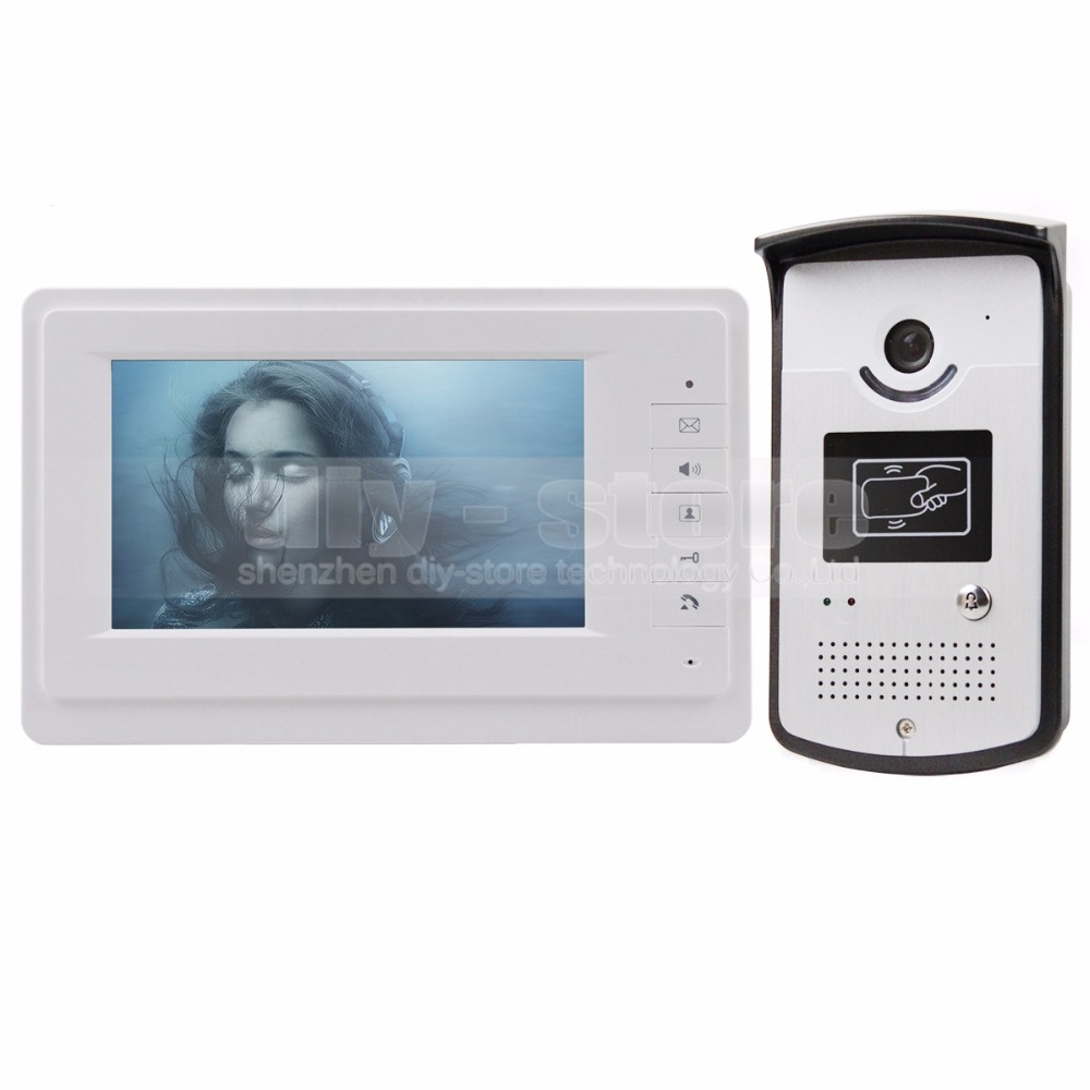 DIYKIT 7 inch Wired Video Door Phone Doorbell Home Security Intercom System 1-In 1-Out RFID