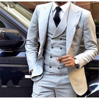 The latest jacket design light gray men's suit double breasted slim tight 3 piece tuxedo wedding custom suit jacket Terno mascul