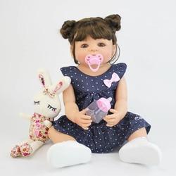 55cm Full Silicone Vinyl Reborn Baby Girl Toy Lifelike Newborn Princess Toddler Babies Alive Bonecas Waterproof Birthday Gift