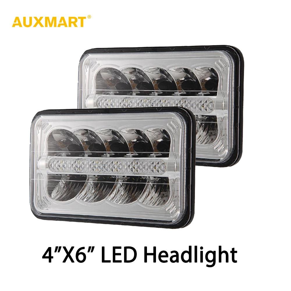 Auxmart H4 Car Headlight 4x6 LED Projector Headlights Hi Lo Beam for Jeep Cherokee XJ Ford GMC Peterbilt