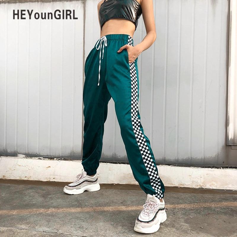 Heyoungirl Patchwork Checkerboard Ribbon Pants Womens Casual Loose Joggers Trousers High Waist Sweatpants Streetwear Harem Pants