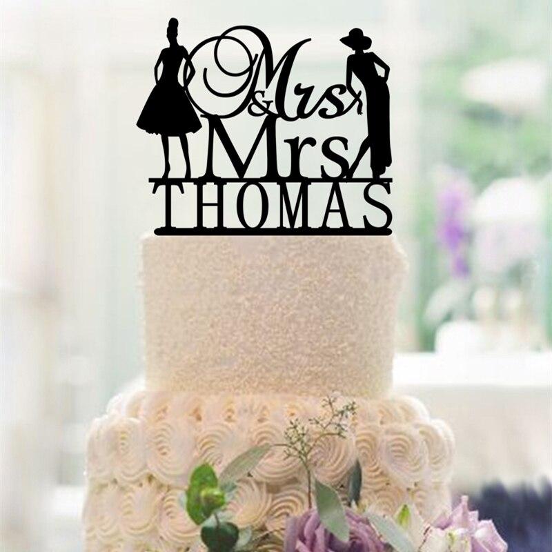 Personligt lesbisk bröllopstårta topper homosexuell brud och - Semester och fester