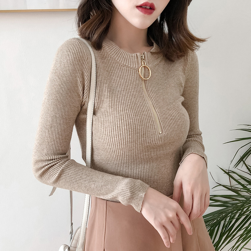 Sweater Women Pullover Zipper O-Neck Long Sleeve Casual Slim Basic Womens Knitted Tops Autumn Winter Ladies Sweaters Pull Femme