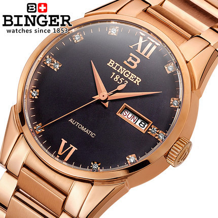 Binger New Geneva Brand Automatic watches Gold Black Men Business Watch Luxury watch Man full Steel Wristwatch drop shipping rosra brand men luxury dress gold dial full steel band business watches new fashion male casual wristwatch free shipping