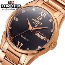 Бингер Новый Женева Марка Автоматические часы Золото Черные Мужчины Бизнес Часы Роскошные часы Человек, полный Стали Наручные Часы груза падения