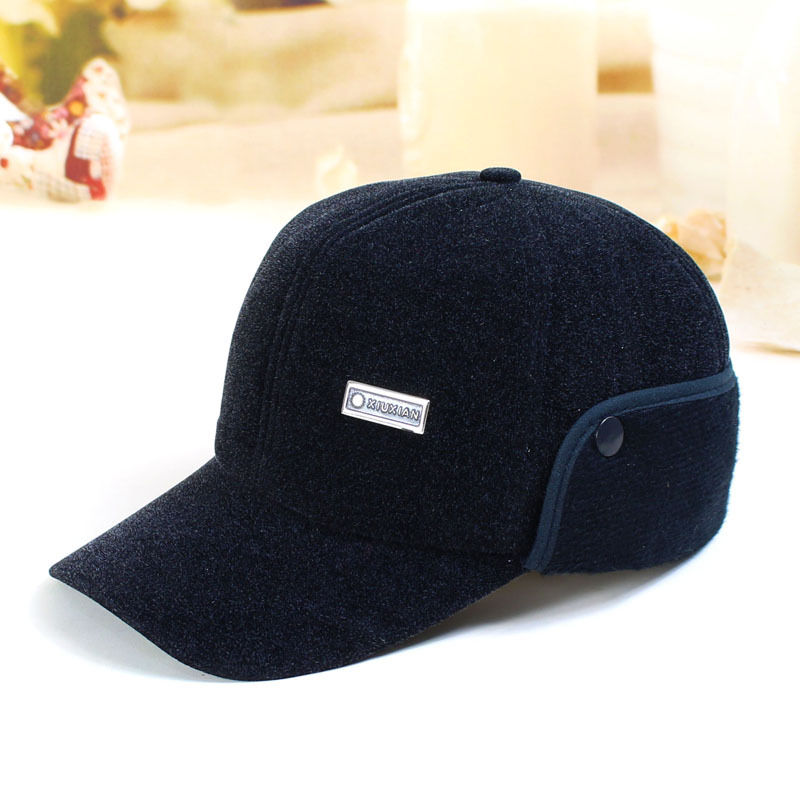 293b8bfc0 US $10.16 |High Quality Men's Winter Hat Warm Ear Protection Plus Velvet  Thick Middle Aged Elderly Wool Baseball Cap With Faux Fur Inside-in Men's  ...