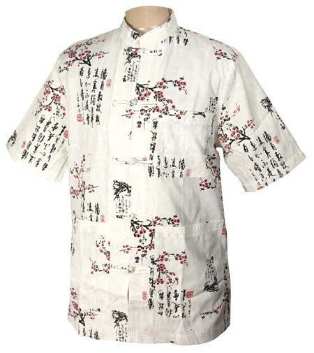 Frete Grátis Masculino Camisa Kung Fu Wu Shu Algodão Camisa Camisa Totem Do Vintage Verão Salão Camisa S-XXXL MS026