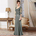 2017 Fashion Mother Of The Bride Dresses 2016 Custom Made A Line 3/4 Sleeve Lace Beads Floor Length Gown Long Evening Dress