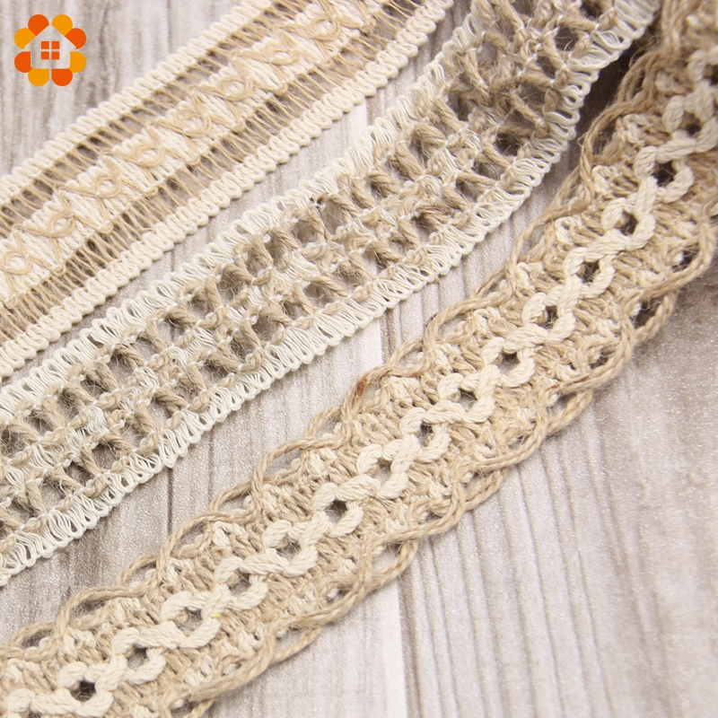 New Arrival! 2M/Lot Natural Jute Burlap Hessian Ribbon Lace Trims Tape Roll Vintage Rustic For Home Garden Wedding Decoration