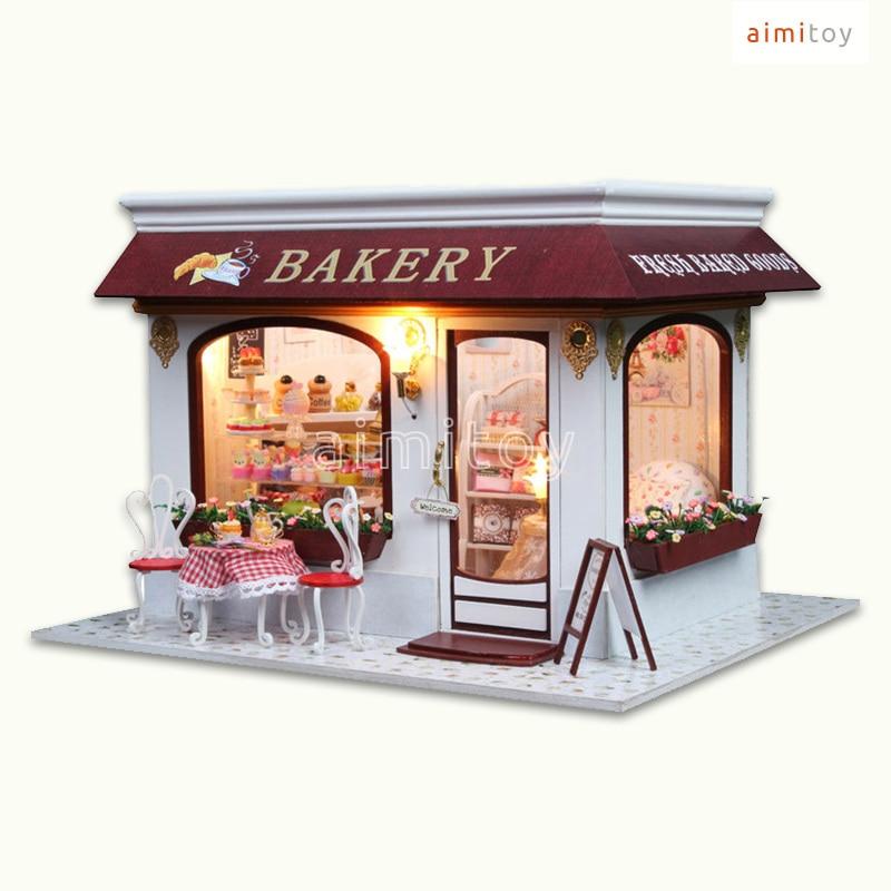 A32 Small Wood Doll House, Bakery Shop W/ LED Lights