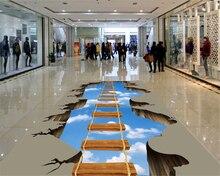 beibehang Wallpaper home decor custom walkway living room sky wooden bridge 3D floor painting wallpaper self adhesive