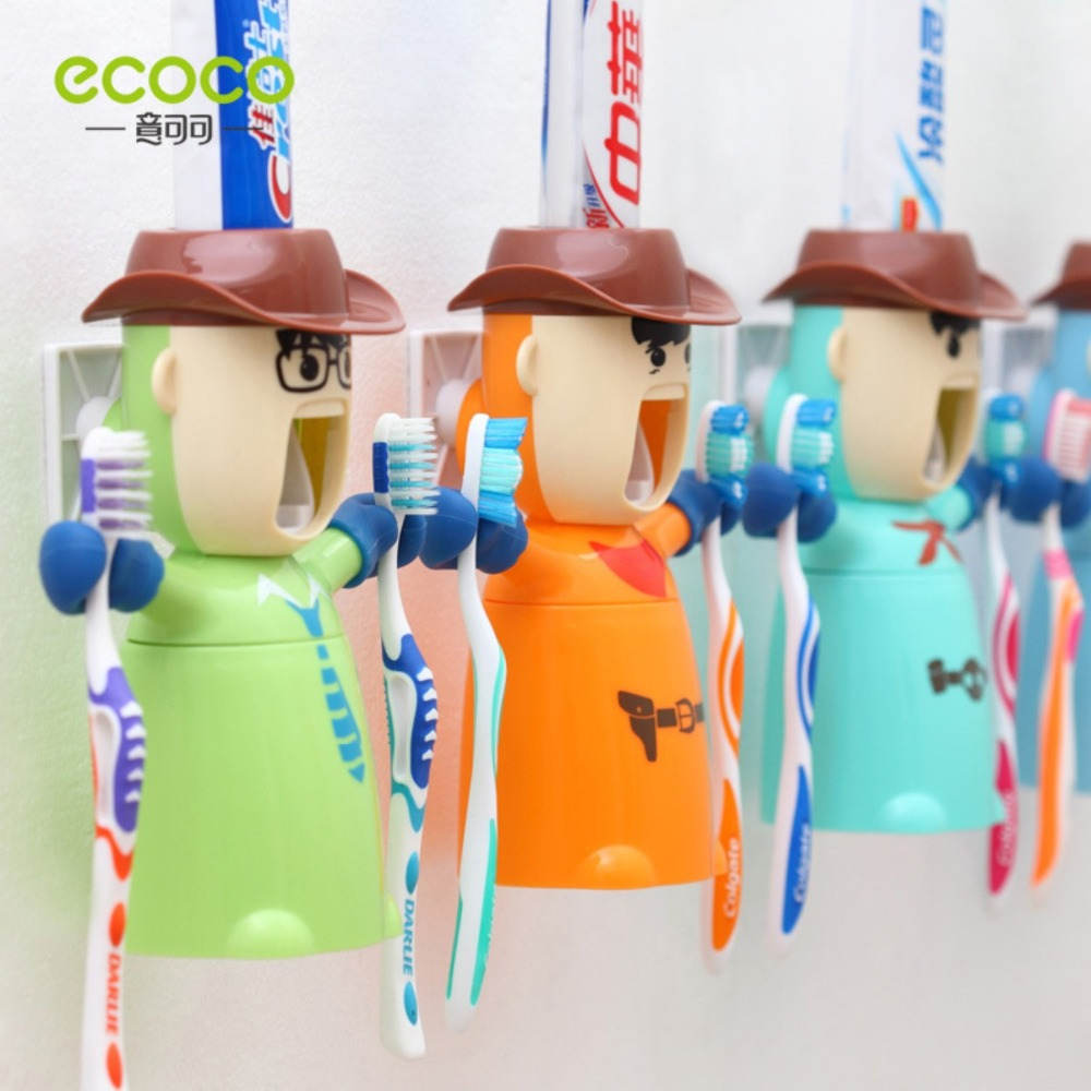 EB/_ FT Bathroom Home Rolling Tube Holder Squeezer Easy Cartoon Toothpaste Dispe