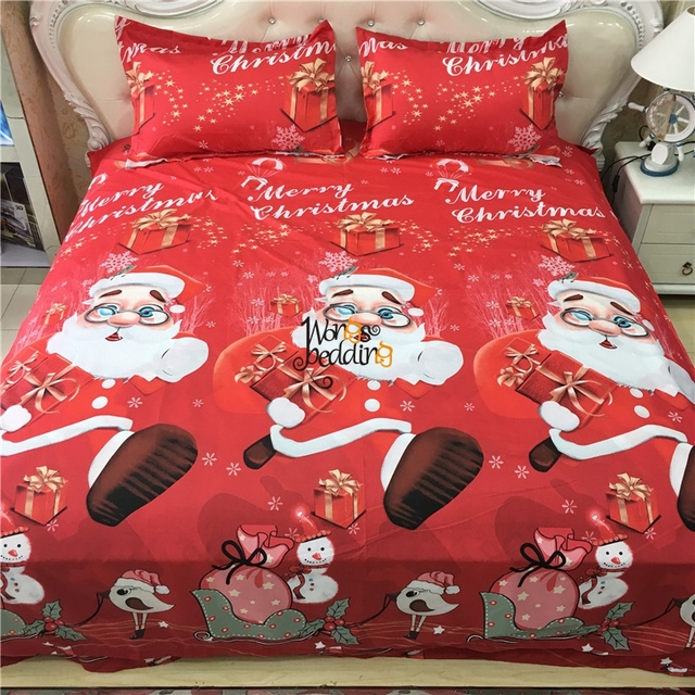3d christmas gift santa claus bedding sets bed sheets red rose duvet cover kids comforter sets - Santa Sheets