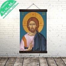 Значок Иисус Золотой Свиток Живопись Холст Старинные Плакаты и Принты Стены Искусства Картины