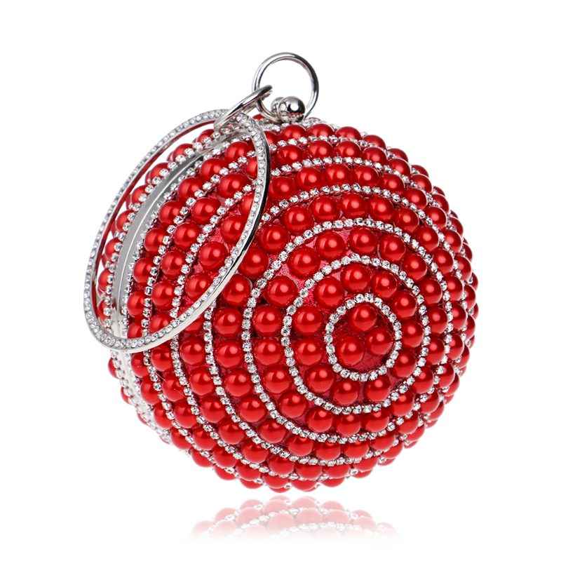 YINGMI Circular Shaped Women Evening Bags Diamonds Metal Beading Day Clutch Small Chain Shoulder Handbags For Party Wedding in Top Handle Bags from Luggage Bags