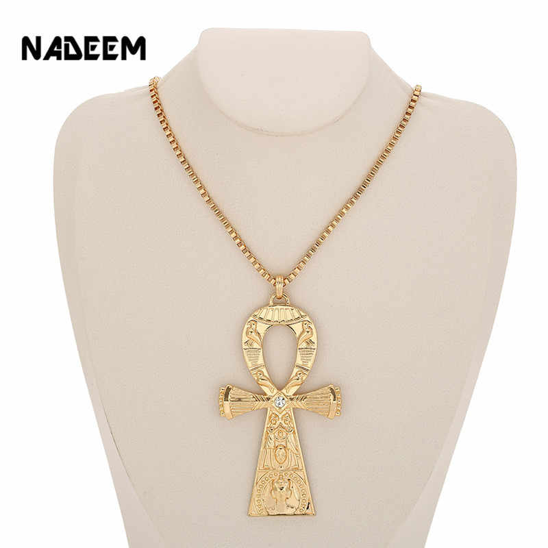 NADEEM Fashion Single Delicate Egyptian Engraving Ankh Cross Pendant Necklace Men's Gold Color Punk Corss Chain Necklace Jewelry