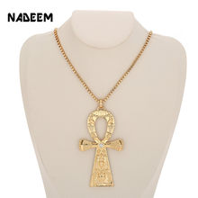 NADEEM Fashion Single Delicate Egyptian Engraving Ankh Cross Pendant Necklace Men's Gold Color Punk Corss Chain Necklace Jewelry(China)