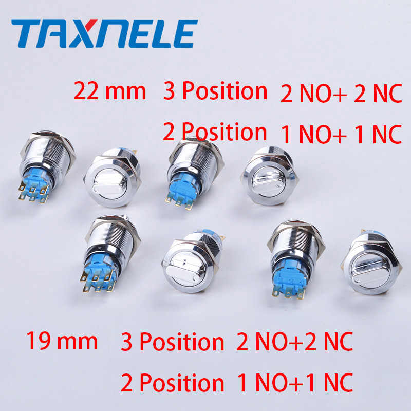 22mm/19mm Waterproof Metal Rotary Push Button Switch 2 Position 1NO+1NC 3 Position 2NO+2NC Button Rotary Knob Switch