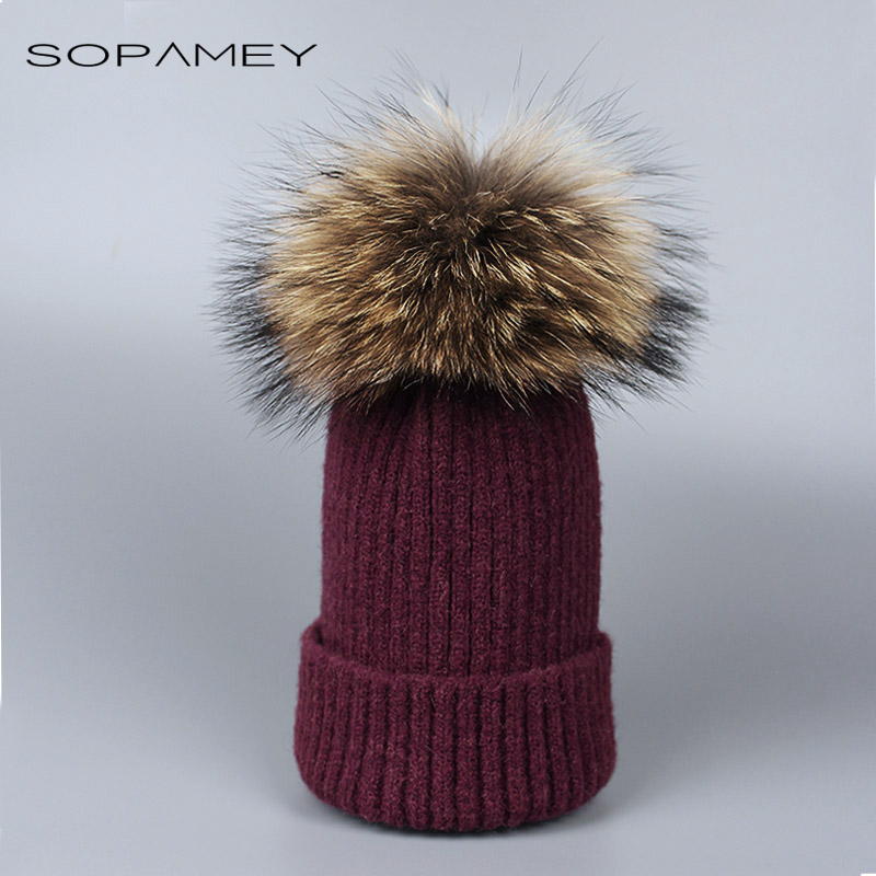 New fox fur pompom hat knitted real mink hat Winter Hat For Women Girls Wool Hat Knitted Cotton Beanies Cap winter mink hat for women genuine fox fur pompom hats for women winter cable knitted cap female real mink fur skullies & beanies