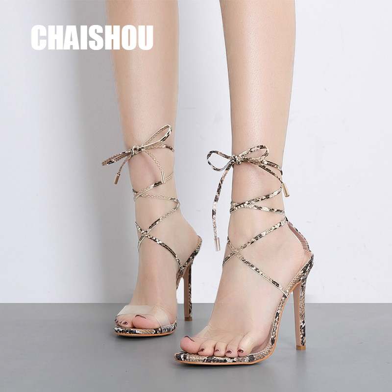 Heels Sweet-Tempered Chaishou Shoes Womens Sandals Romanesque Snake Fine Belt Leggings Sexy Fine 11.5cm Heels High Heel Party Wedding Sandals Cs-296