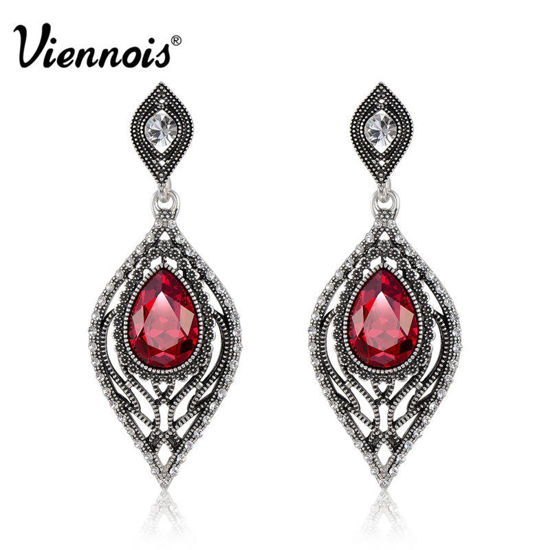 Viennois Retro Silver Color Dangle Earrings for Women Water Drop Red/Blue Crystal Female Drop Earrings Vintage Earrings vintage leaf water drop earrings