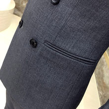 Men's Blazers coat autumn new British style double-breasted Slim thin black male casual gray double-breasted suit coat