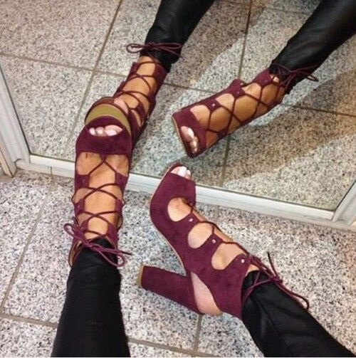 Luxury Brand Wine Red Suede Chunky Heel Sandals Lace-up Open Toe Exposed Heels Gladiator Dress Shoes Thick High Heel Pumps