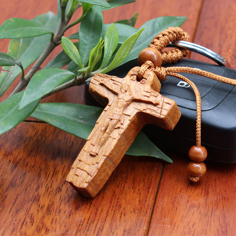 New arrival 3d wood cross carved keychain wood crafts key for Cheap wooden crosses for crafts