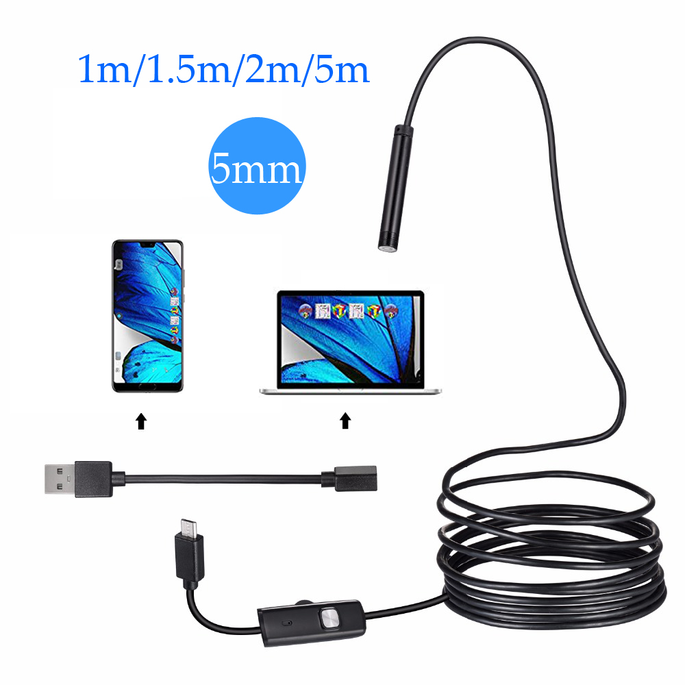5.5mm 7mm 1/1.5/2m Lens Endoscope HD 480P USB OTG Snake Endoscope Waterproof Inspection Pipe Camera Borescope For Android Phone