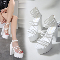 Spring and summer new thick with high heel fish mouth shoes sexy transparent crystal glass plastic sandals tide