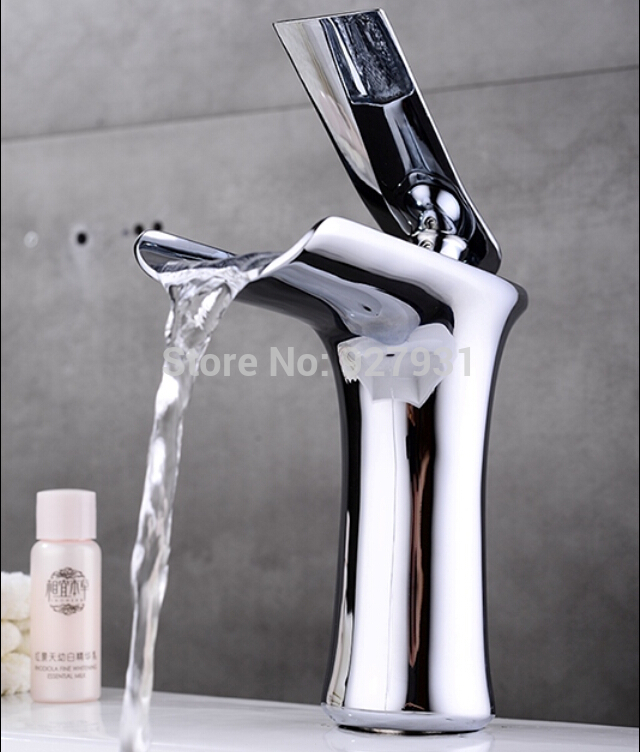 Elegant Deck Mount Brass Waterfall Bathroom Sink Basin Faucet Single Handle Vanity Sink Mixer Tap