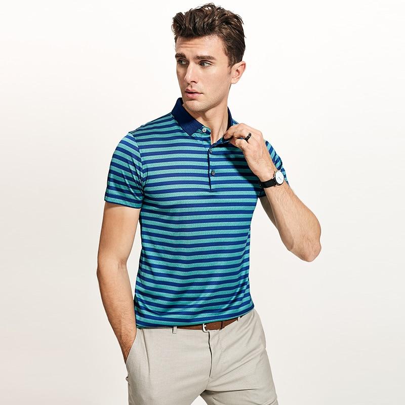 Polos chemise hommes 100% vraie soie affaires décontracté à manches courtes Polo classique rayé mâle Social robe chemises camisa masculina