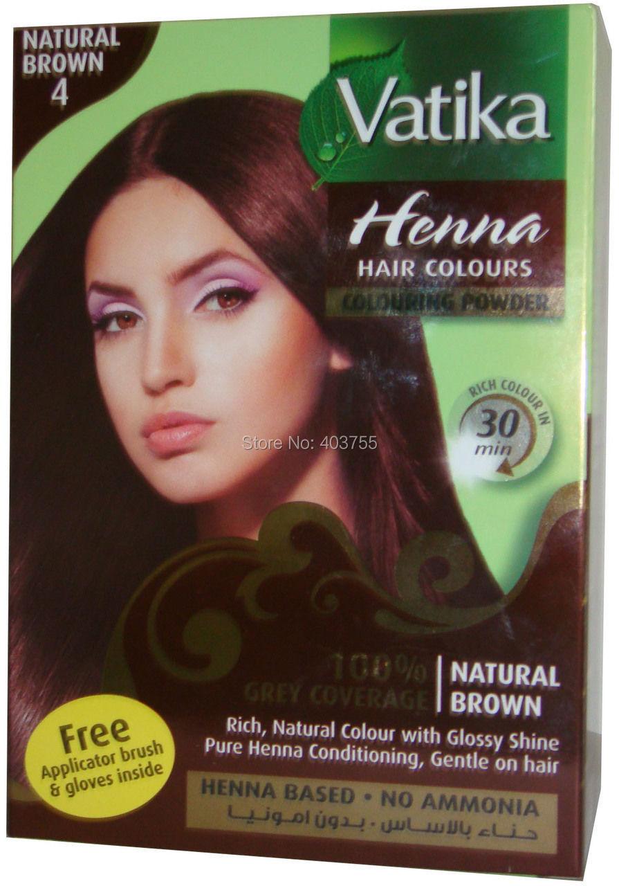 Vatika Henna Hair Coloring Powder natural Brown 100% Grey Coverage ...