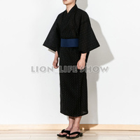 Japanese Men Samurai Yukata Kimono Summer Festival Pajamas Sleepwear Costume without obi