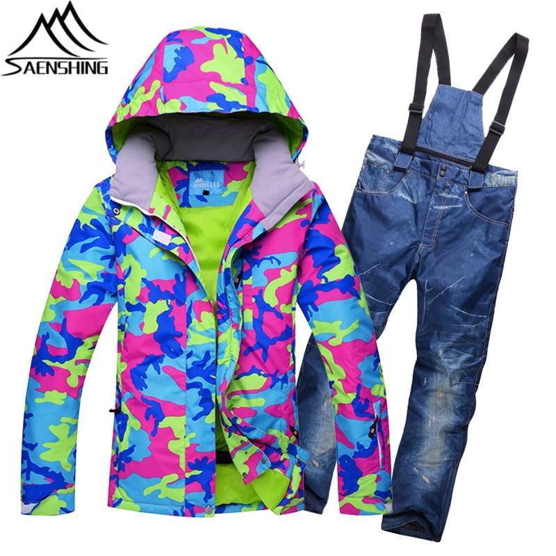 Mountain Skiing Suit Women 2017 New Ski Suit Winter Outdoor Waterproof Ski Jacket + Multi Color Snow Pants Snowboarding Suits XL 2016 women ski jacket color matching snowboarding jacket skiing jacket for women skiwear suit waterproof breathable