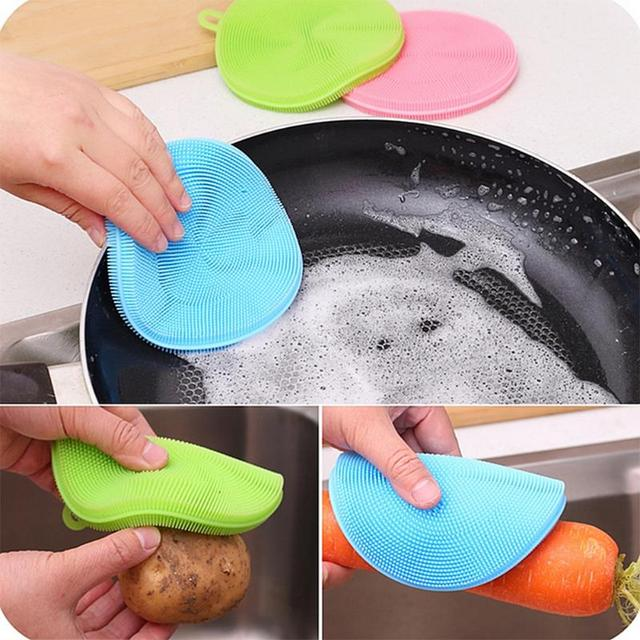 Fruit Vegetable Food Grade Silicone Dishwashing Sponge Brush Antibacterial Kitchen Cleaning Pad Clean Vegetable/Pan Brush Tool