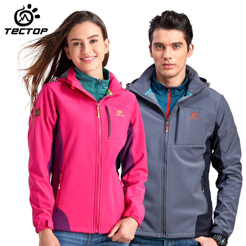 TECTOP men/women Outdoor sports Soft shell Jacket 100% Waterproof windproof keep warm outdoor/hiking/camping sports Jackets