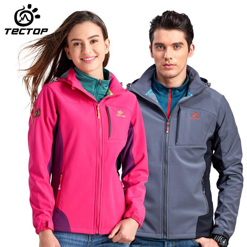 TECTOP men/women Outdoor sports Soft shell Jacket 100% Waterproof windproof keep warm outdoor/hiking/camping sports Jackets outdoor sports mirror windproof dust for women and men