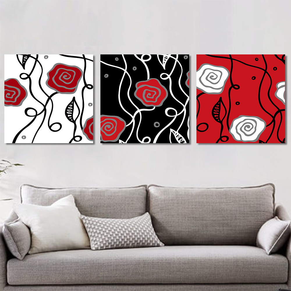 Unframed 3 Pairs Abstract Canvas Painting Line Rose Wall Art Decor Prints Wall Pictures For Living Room Wall Art Decoration