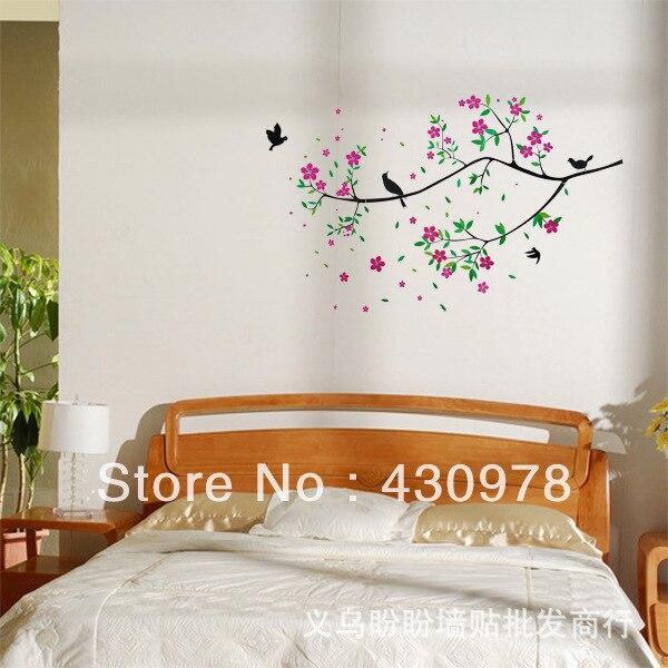 QZ227 Free Shipping 1Pcs Bird Singing On Branch Flower Spring Removable PVC Wall Stickers <font><b>Elegant</b></font> Fancy <font><b>Home</b></font> <font><b>Decoration</b></font> Gift