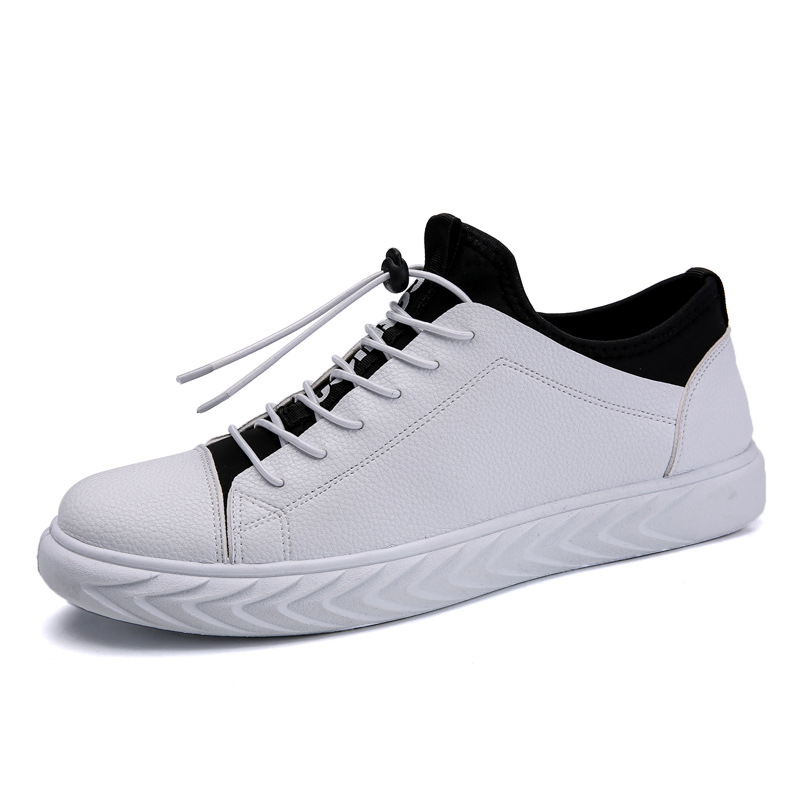 Man Low-top Pu Leather <font><b>Skateboarding</b></font> <font><b>Shoes</b></font> Spring Outdoor Plush Keep Warm Lacing Sneakers Boy Sports Flat Footwear Youth Boots image