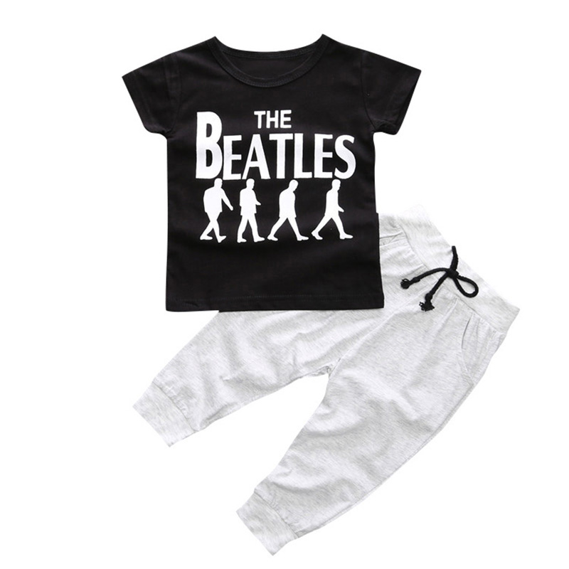 Baby Boy Clothes 2 pcs Short Sleeve T-shirt Tops + Pants Outfit Set Suit Printed Clothing Hot baby fox print clothes set newborn baby boy girl long sleeve t shirt tops pants 2017 new hot fall bebes outfit kids clothing set