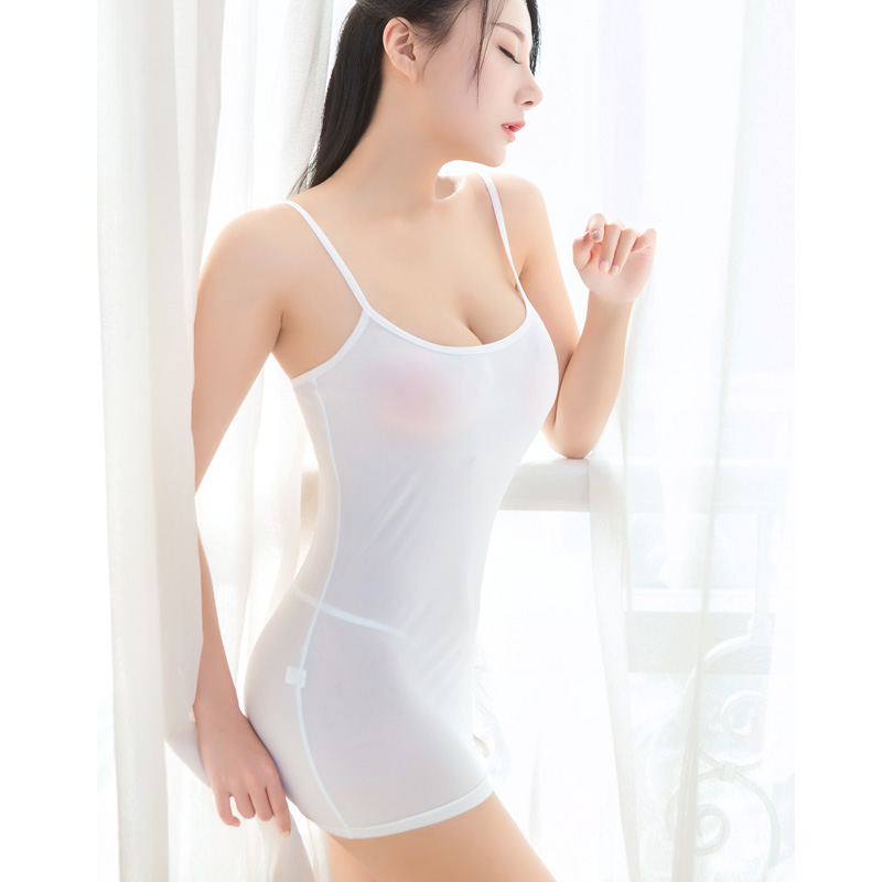 Sexy Women Strap Tight Pencil Cute Dress Ice Silk Smooth See Through Micro Mini Dress Transparent Bandage Dress Stage Wear F10 8