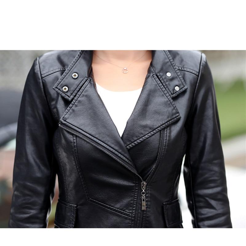 Brand Women's Leather Jacket New 2019 Autumn Vintage Flowers Embroidery Large Lapel Slim Short Black PU Leather Coat Female - 6