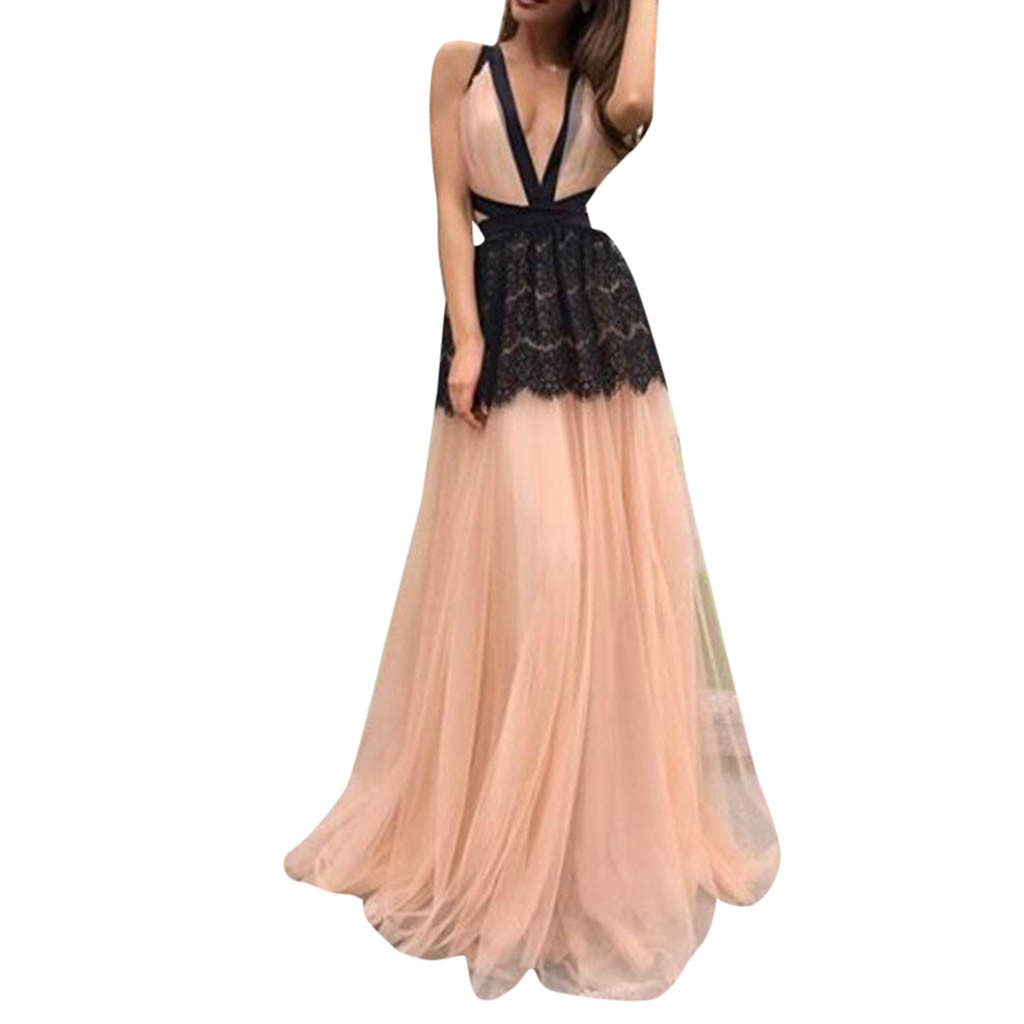 2019 Fashion Women Lace Dress Prom Party Ball Gown Sexy