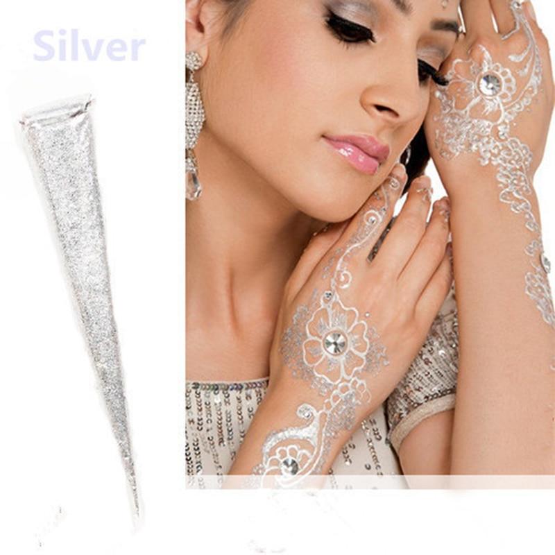 Indian Henna Paste Cones Metallicsilver White Glitter