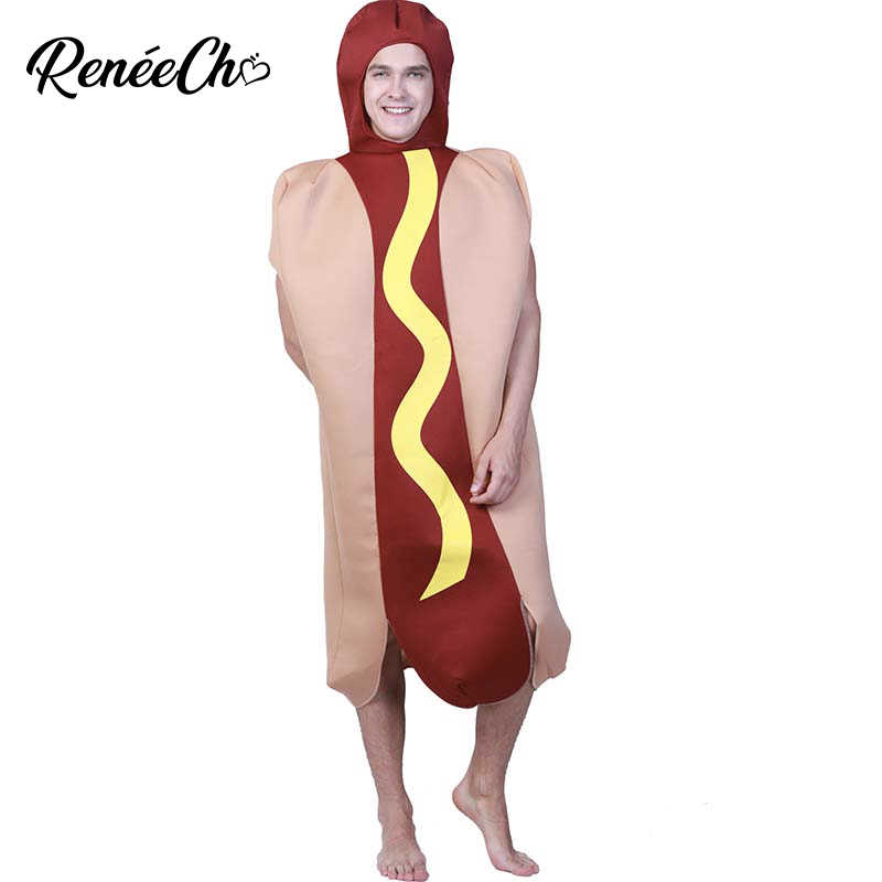 2018 New Arrival Halloween Costume For Adult Hot Dog Costume Men Funny  Hotdog Cosplay Carnival Party Role Play Fancy Costumes