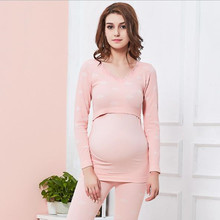2pcs Maternity Clothes Suit Pregnancy Sleepwear Breastfeeding Thermal Underwear Nursing Pajamas for Pregnant Women D0042 emotion moms maternity sleepwear sets pregnancy pajamas nightwear nursing clothes breastfeeding pajamas suit for pregnant women